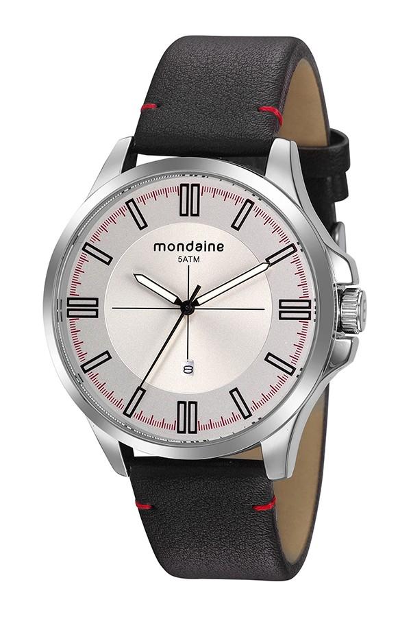 Relógio Masculino Mondaine Pulseira de Couro Sintético Marrom Fundo Prata 76755G0MVNH1