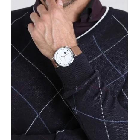 Relógio Masculino Mondaine Pulseira de Couro Sintético Marrom Fundo Prata