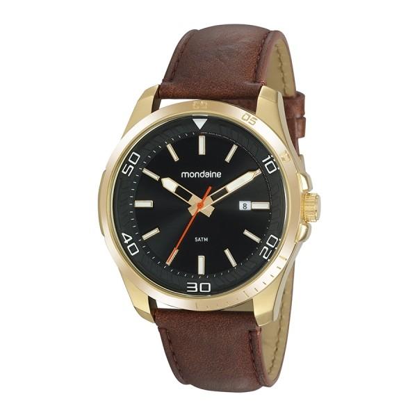 Relógio Masculino Mondaine Pulseira de Couro Sintético Marrom Fundo Preto 32145GPMVDH1