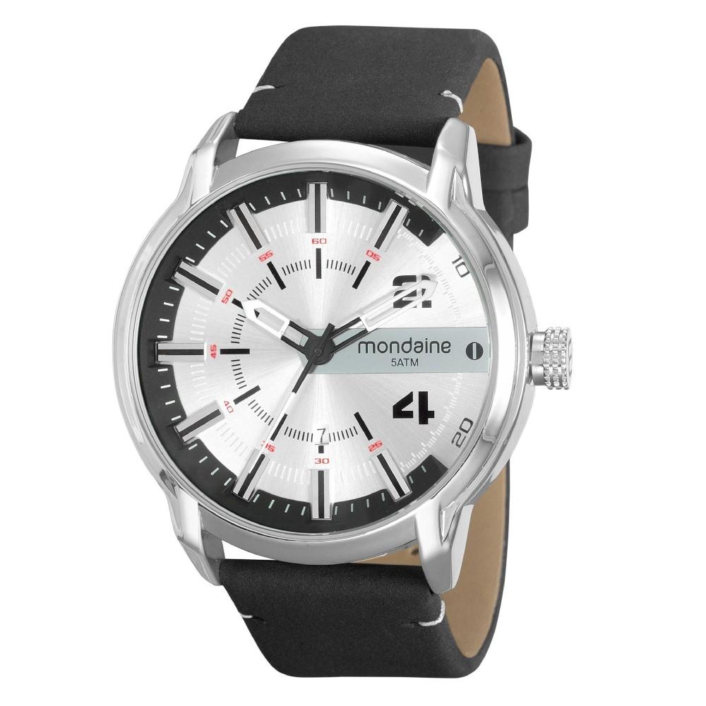 Relógio Masculino Mondaine Pulseira de Couro Sintético Marrom Fundo Preto