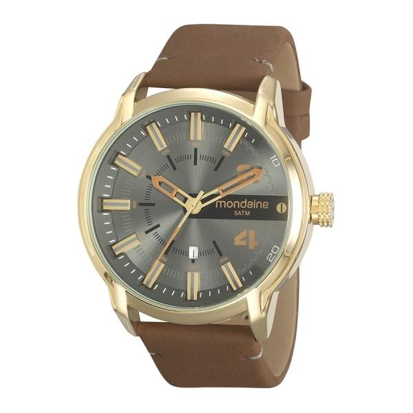 Relógio Masculino Mondaine Pulseira de Couro Sintético Marrom Fundo Preto 99508GPMVDH3