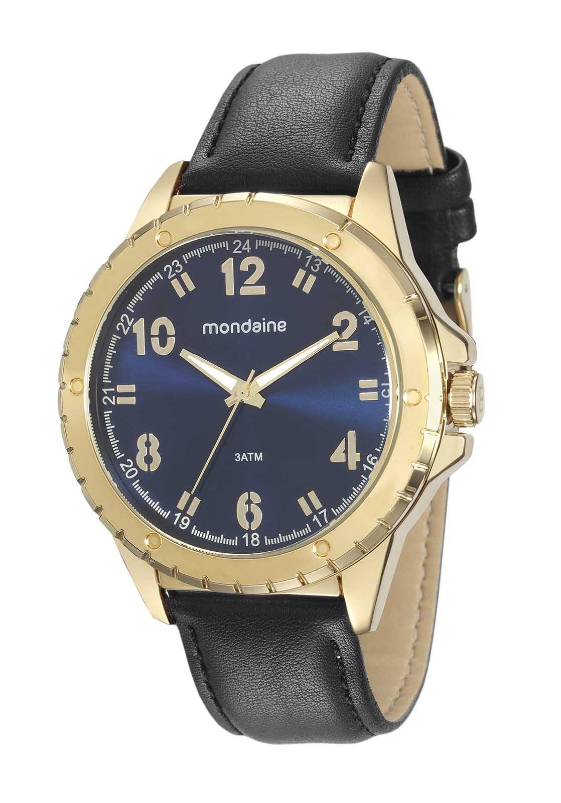 Relógio Masculino Mondaine Pulseira de Couro Sintético Preto Fundo Azul 76676GPMVDH2