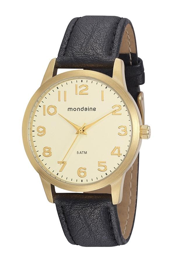 Relógio Masculino Mondaine Pulseira de Couro Sintético Preto Fundo Champanhe