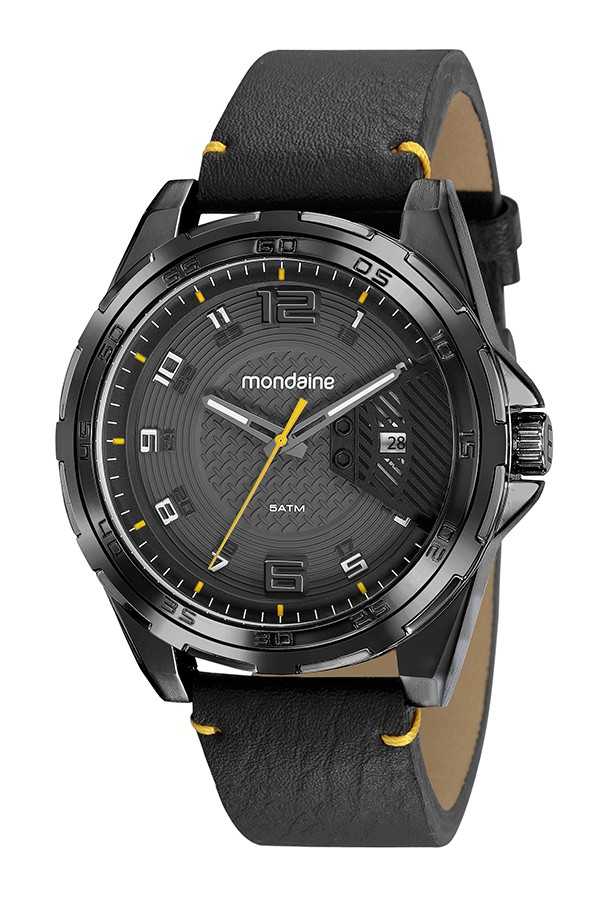 Relógio Masculino Mondaine Pulseira de Couro Sintético Preto Fundo Cinza 53754GPMVPH2