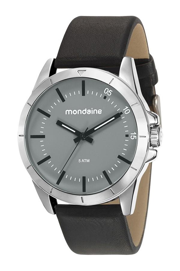 Relógio Masculino Mondaine Pulseira de Couro Sintético Preto Fundo Cinza 76701G0MVNH1