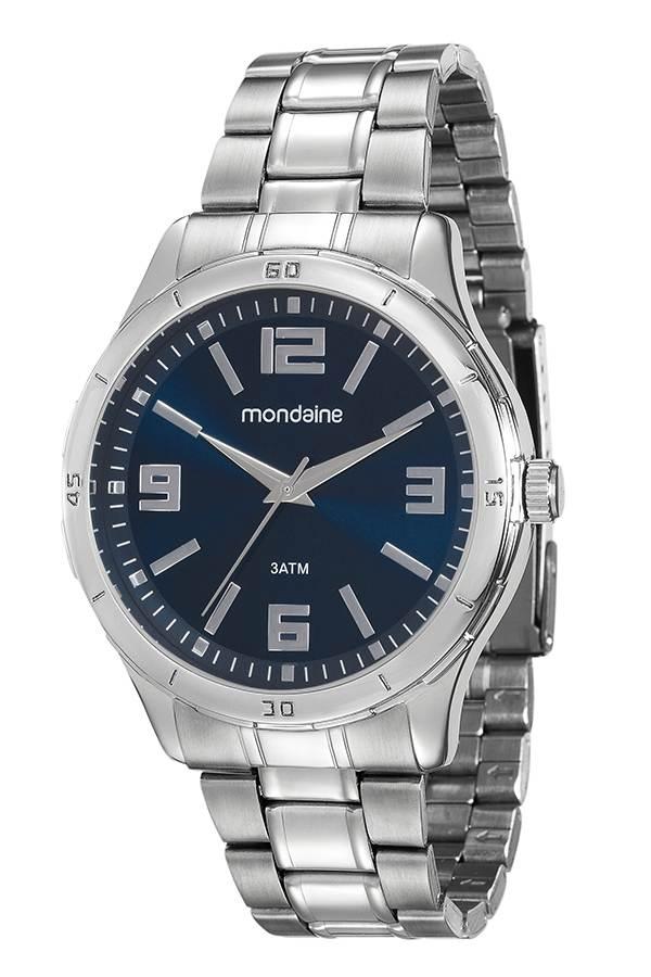 Relógio Masculino Mondaine Pulseira de Couro Sintético Preto Fundo Prata 99057G0MVNE1