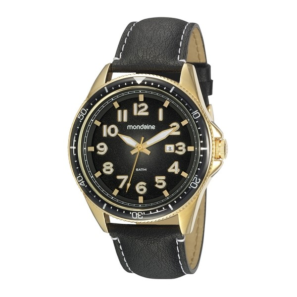 Relógio Masculino Mondaine Pulseira de Couro Sintético Preto Fundo Preto 32146GPMVDH1