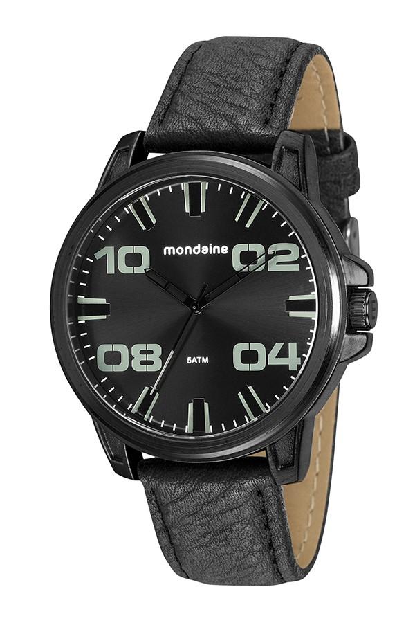Relógio Masculino Mondaine Pulseira de Couro Sintético Preto Fundo Preto