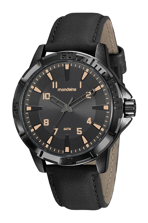 Relógio Masculino Mondaine Pulseira de Couro Sintético Preto Fundo Preto 99408GPMVPH2