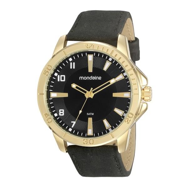 Relógio Masculino Mondaine Pulseira de Couro Sintético Preto Fundo Preto 99494GPMVDH2