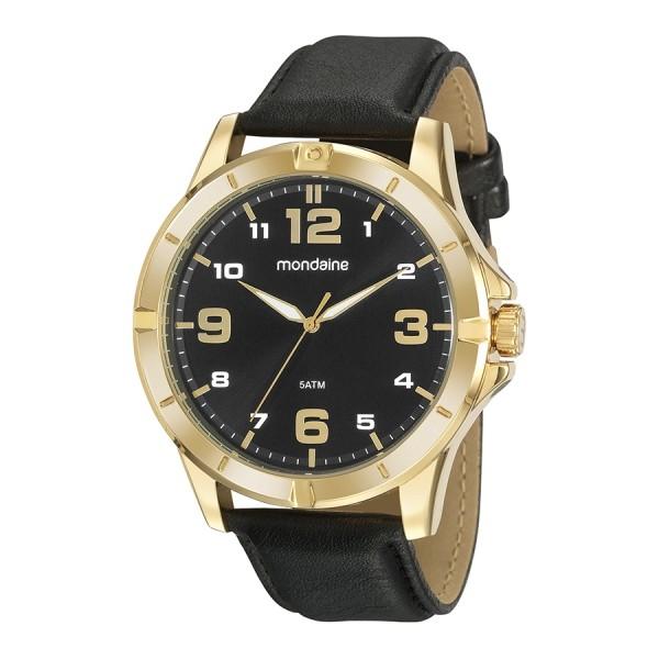 Relógio Masculino Mondaine Pulseira de Couro Sintético Preto Fundo Preto 99496GPMVDH1