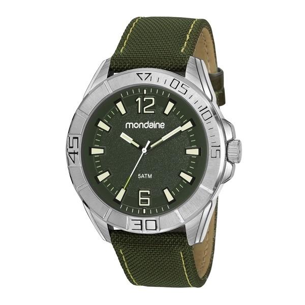 Relógio Masculino Mondaine Pulseira de Couro Sintético Verde Fundo Verde