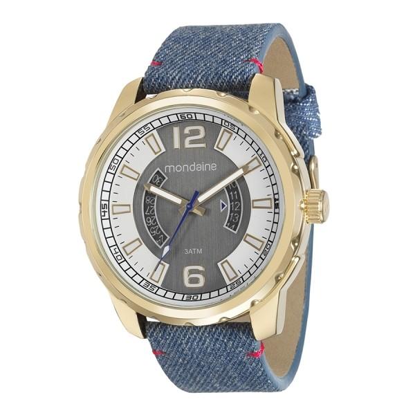 Relógio Masculino Mondaine Pulseira de Jeans Azul Fundo Cinza 99090GPMVDH2