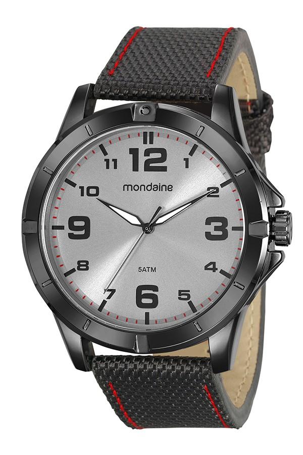 Relógio Masculino Mondaine Pulseira de Nylon Preto Fundo Cinza