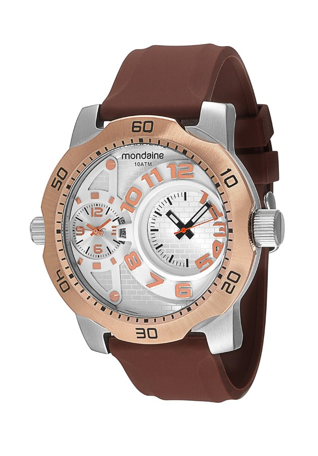 Relógio Masculino Mondaine Pulseira de Silicone Marrom Fundo Prata
