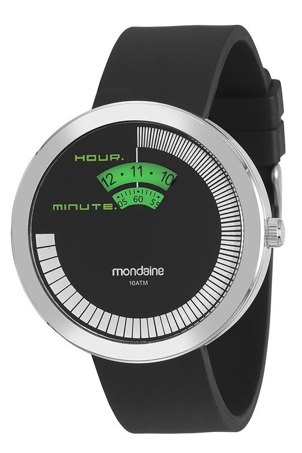 Relógio Masculino Mondaine Pulseira de Silicone Preto Fundo Cinza 94765G0MVNU1