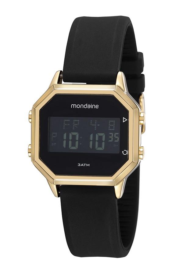 Relógio Masculino Mondaine Pulseira de Silicone Preto Fundo Lcd Negativo