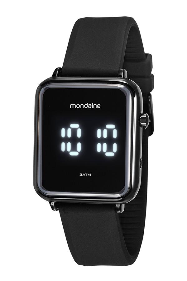 Relógio Masculino Mondaine Pulseira de Silicone Preto Fundo Led 32151GPMVPI2