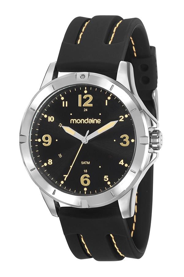 Relógio Masculino Mondaine Pulseira de Silicone Preto Fundo Preto 99377G0MVNI2