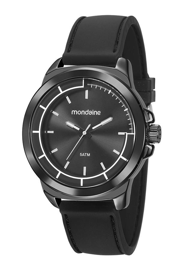 Relógio Masculino Mondaine Pulseira de Silicone Preto Fundo Preto