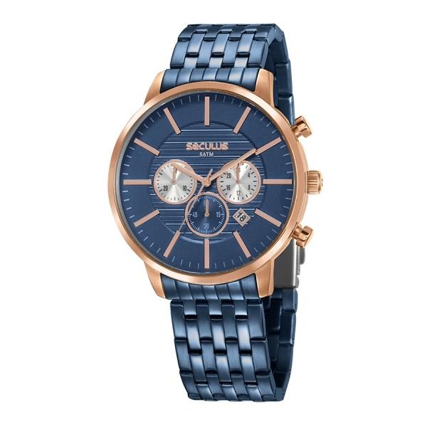 Relógio Masculino Seculus Pulseira de Aço Azul Fundo Azul 20759GPSVVA1