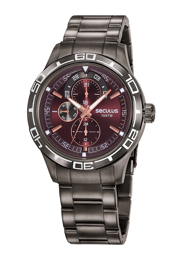 Relógio Masculino Seculus Pulseira de Aço Chumbo Fundo Marrom 13041GPSVSA3