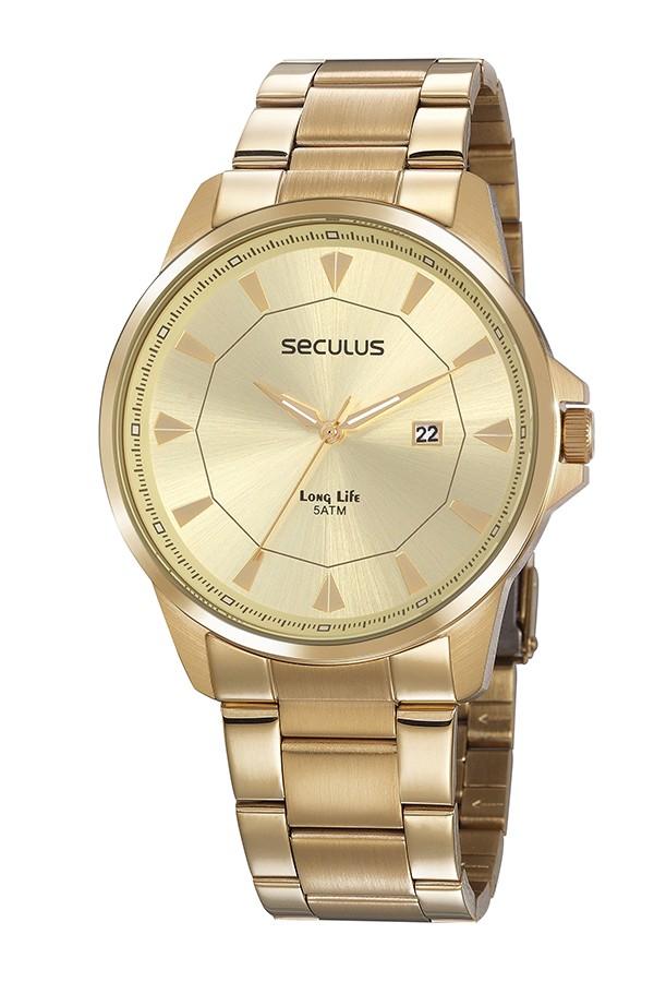 Relógio Masculino Seculus Pulseira de Aço Dourada Fundo Champagne 20805GPSVDA1