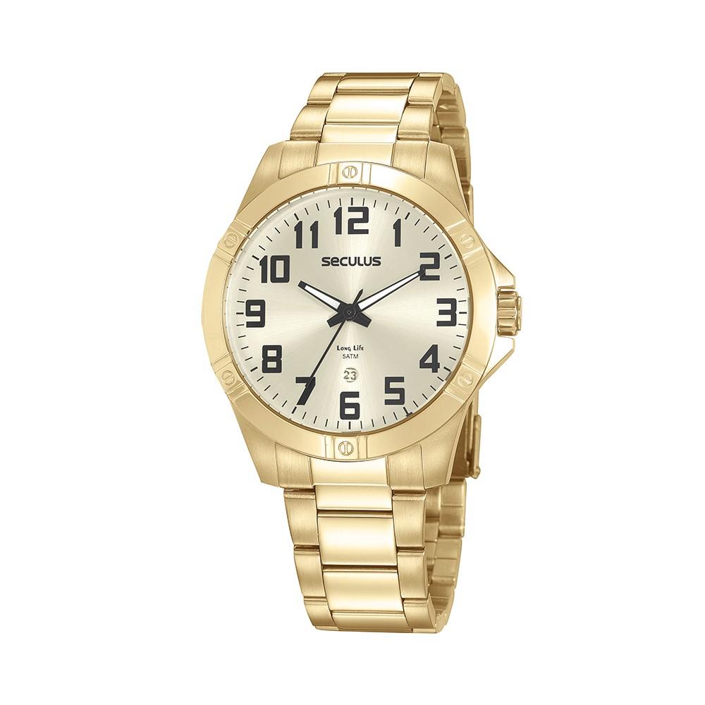 Relógio Masculino Seculus Pulseira de Aço Dourada Fundo Champagne