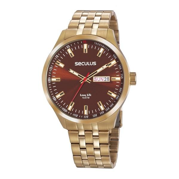 Relógio Masculino Seculus Pulseira de Aço Dourada Fundo Marrom 20798GPSVDA3