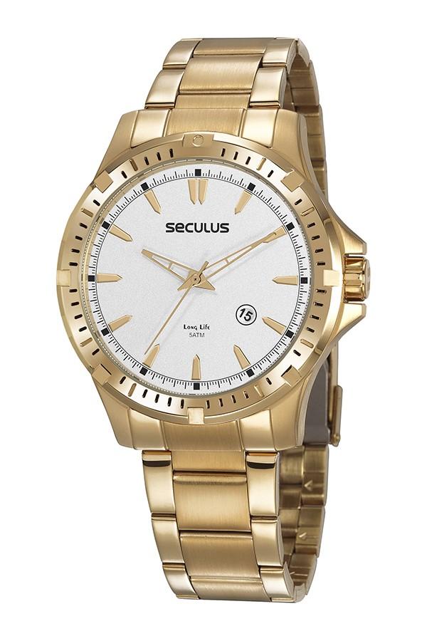 Relógio Masculino Seculus Pulseira de Aço Dourada Fundo Prata