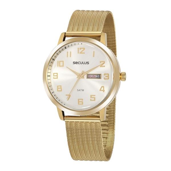 Relógio Masculino Seculus Pulseira de Aço Dourada Fundo Prata 20880GPSVDA1