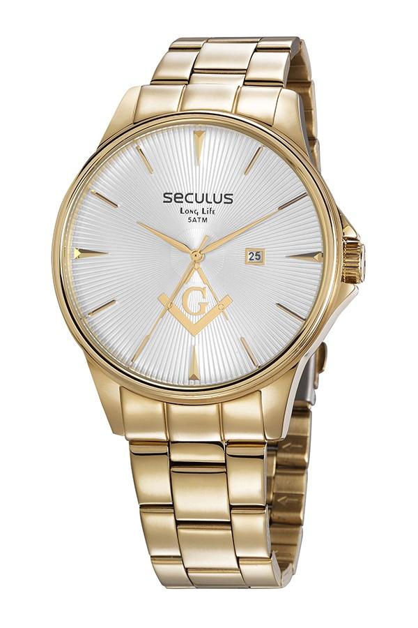 Relógio Masculino Seculus Pulseira de Aço Dourada Fundo Prata 35012GPSVDA1