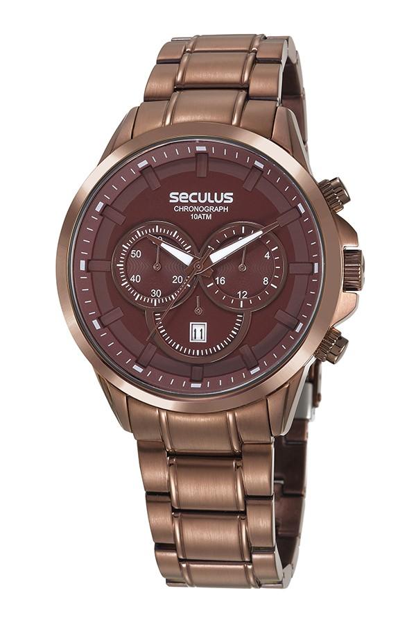 Relógio Masculino Seculus Pulseira de Aço Marrom Fundo Marrom 20617GPSVMA2
