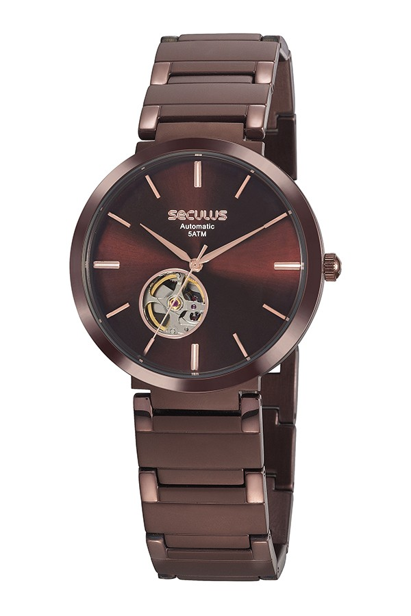 Relógio Masculino Seculus Pulseira de Aço Marrom Fundo Marrom 20784GPSVMA2