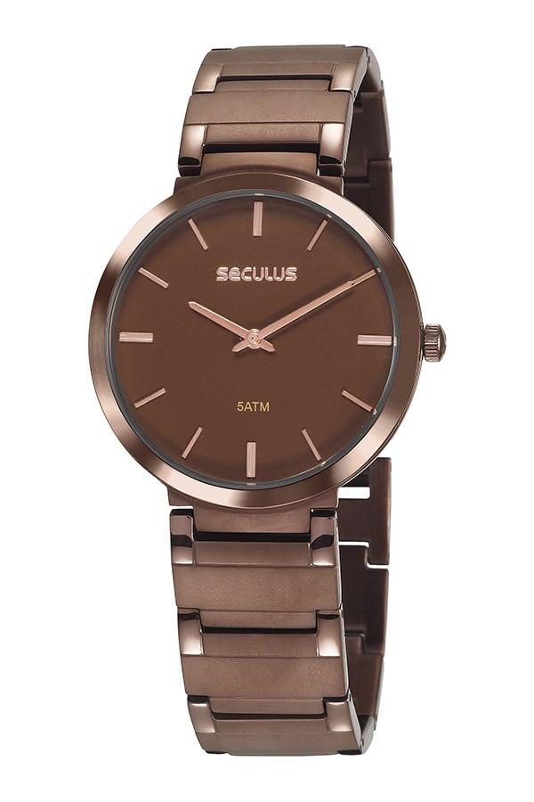 Relógio Masculino Seculus Pulseira de Aço Marrom Fundo Marrom 24214GPSVMA5