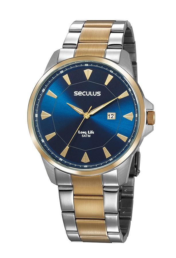 Relógio Masculino Seculus Pulseira de Aço Prata & Dourado Fundo Azul 20805GPSVBA4