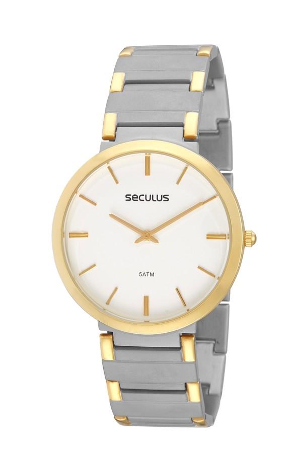 Relógio Masculino Seculus Pulseira de Aço Prata & Dourado Fundo Branco 24215GPSEBA2
