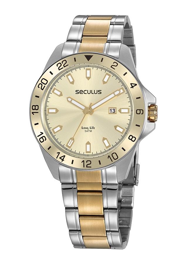 Relógio Masculino Seculus Pulseira de Aço Prata & Dourado Fundo Champagne 20801GPSVBA1