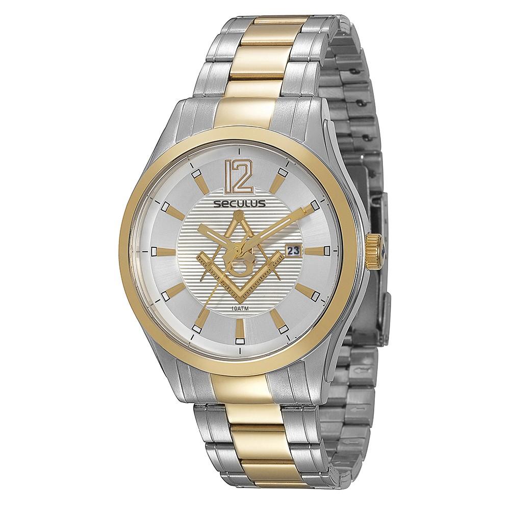 Relógio Masculino Seculus Pulseira de Aço Prata & Dourado Fundo Prata 20171GPSVBA2