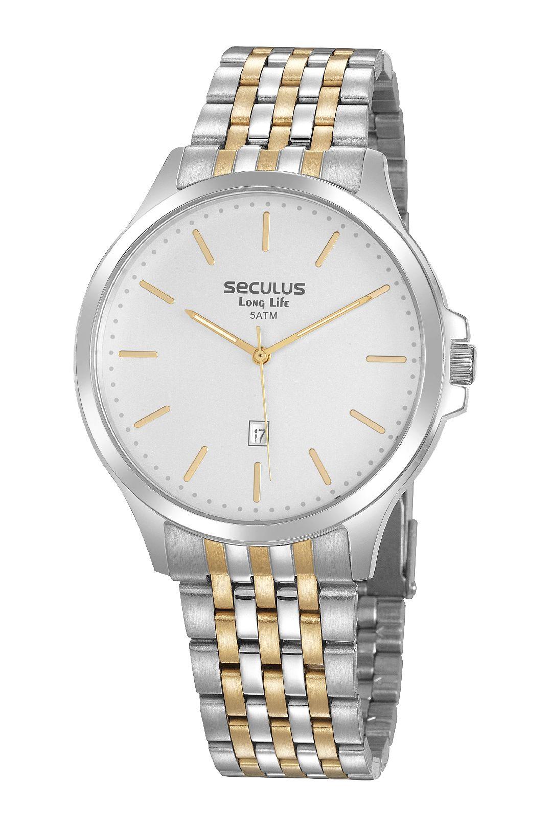 Relógio Masculino Seculus Pulseira de Aço Prata & Dourado Fundo Prata
