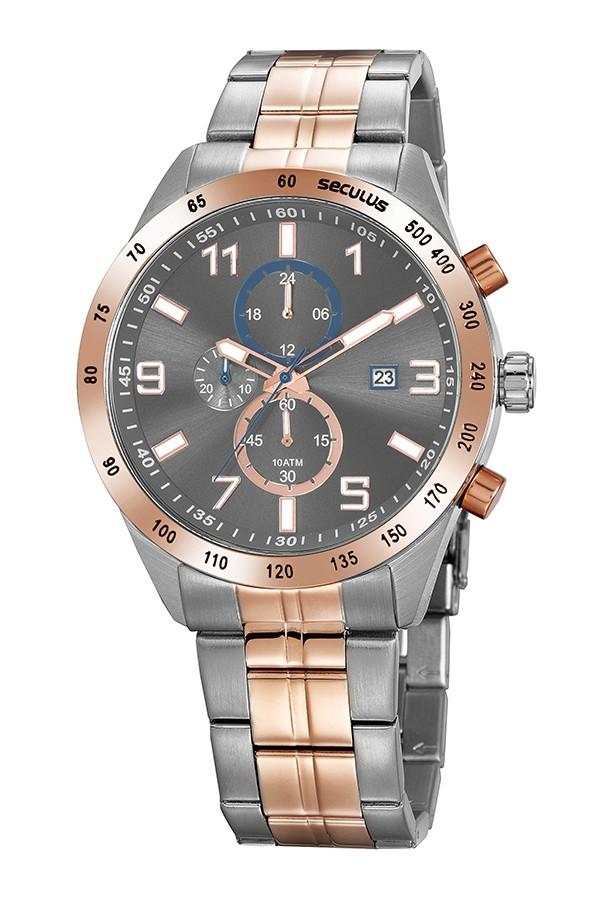 Relógio Masculino Seculus Pulseira de Aço Prata & Rose Fundo Cinza