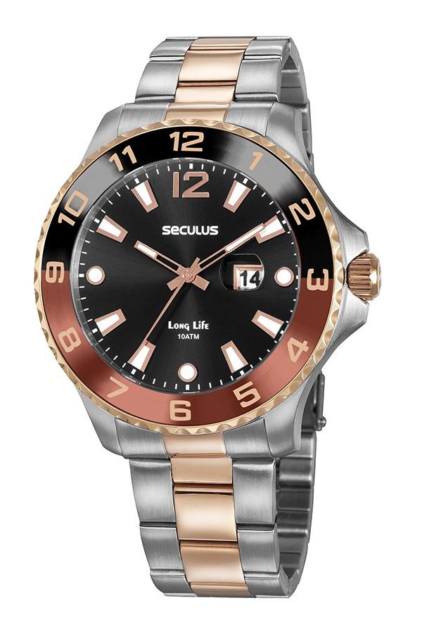 Relógio Masculino Seculus Pulseira de Aço Prata & Rose Fundo Preto 20764GPSVGA2
