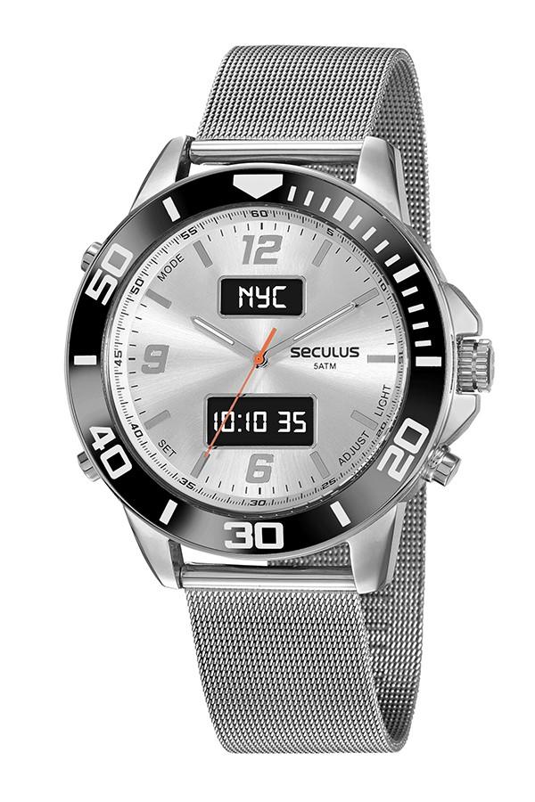 Relógio Masculino Seculus Pulseira de Aço Prata Fundo Lcd Negativo