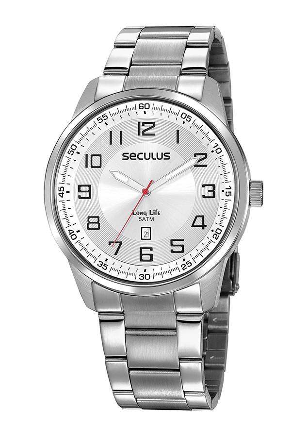 Relógio Masculino Seculus Pulseira de Aço Prata Fundo Prata 20785G0SVNA2
