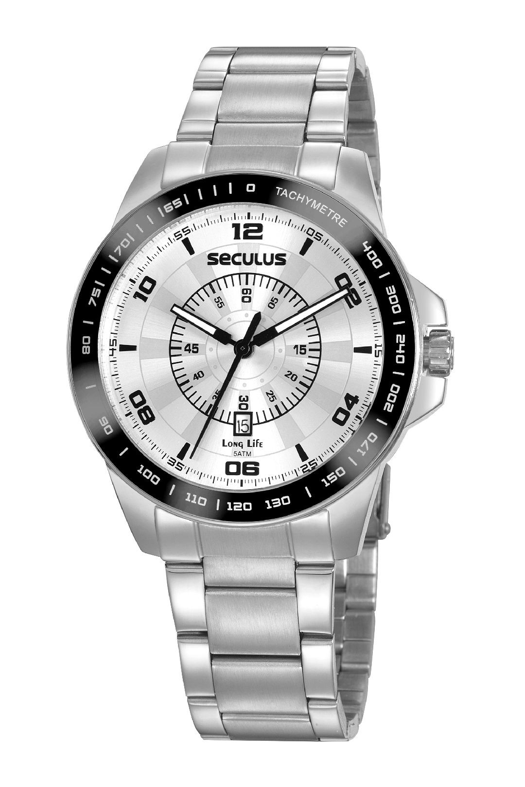 Relógio Masculino Seculus Pulseira de Aço Prata Fundo Prata 20898G0SVNA4