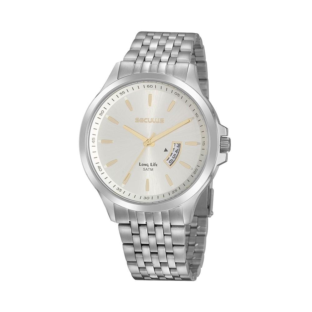 Relógio Masculino Seculus Pulseira de Aço Prata Fundo Prata