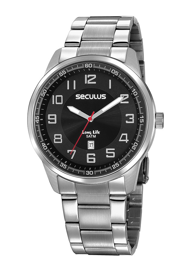Relógio Masculino Seculus Pulseira de Aço Prata Fundo Preto 20785G0SVNA1