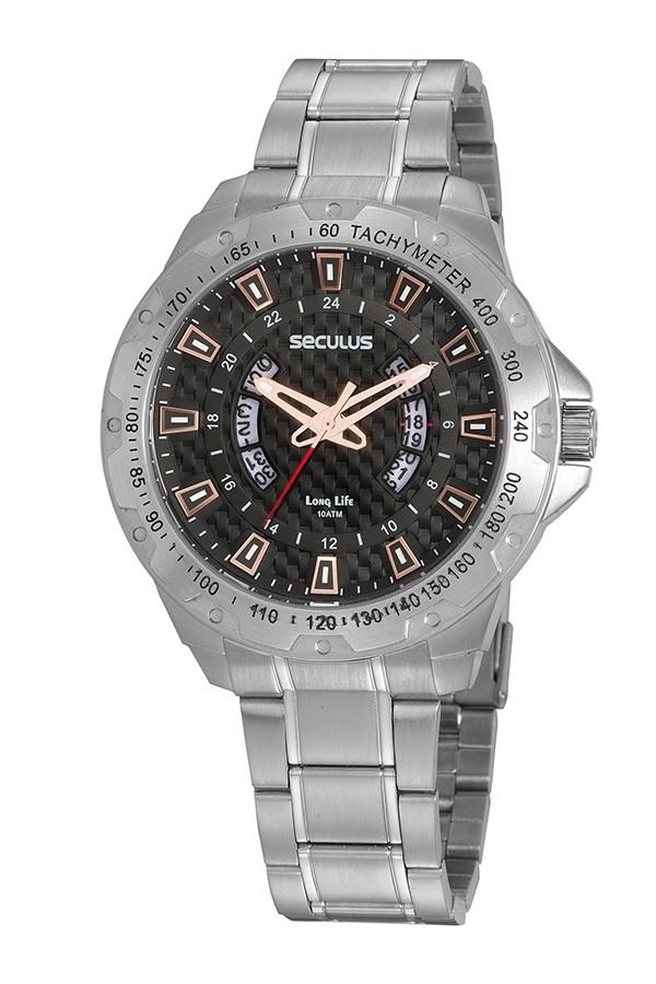 Relógio Masculino Seculus Pulseira de Aço Prata Fundo Preto 20833G0SVNA2
