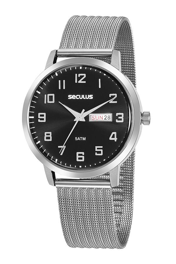 Relógio Masculino Seculus Pulseira de Aço Prata Fundo Preto 20880G0SVNA2