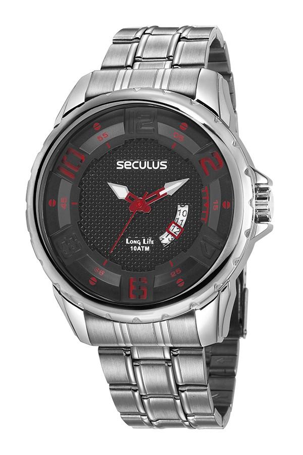 Relógio Masculino Seculus Pulseira de Aço Prata Fundo Preto 28997G0SVNA2